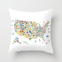 Animal Map of United States for children and kids Throw Pillow