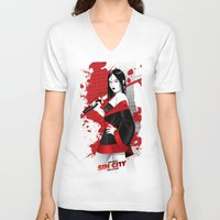 sin city V-neck T-shirts featuring Sin City-Miho by Szoki