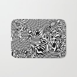 Black  and white psychedelic optical illusion Bath Mat
