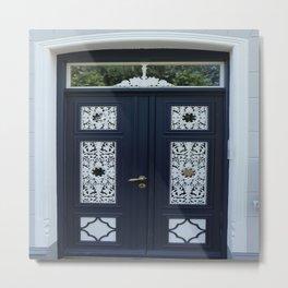 Richly Ornamented Blue Door Metal Print