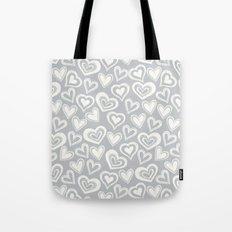 MESSY HEARTS: IVORY GRAY Tote Bag