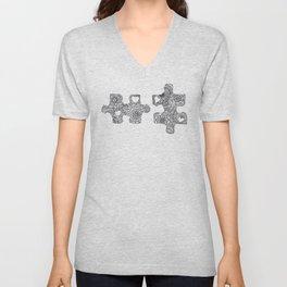 Puzzle Pieces Unisex V-Neck