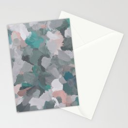 Mint Teal Blue Coral Pink Heather Gray Abstract Flower Wind Expressive Painting Modern Wall Art Stationery Cards
