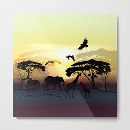 Savanna landscape with animals. African illustration Metal Print