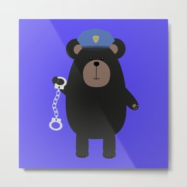 Police Black Bear and Metal Print