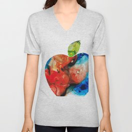 An Apple A Day - Colorful Fruit Art By Sharon Cummings Unisex V-Neck