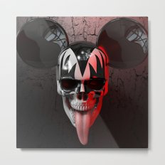 Mickey Kiss Skull Metal Print