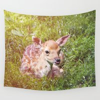 fawn Wall Tapestries featuring Little Fawn by Pati Designs