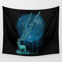 dna Wall Tapestries featuring DNA Deer by Jorge Garza