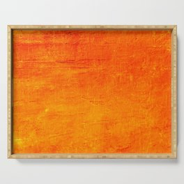 Orange Sunset Textured Acrylic Painting Serving Tray