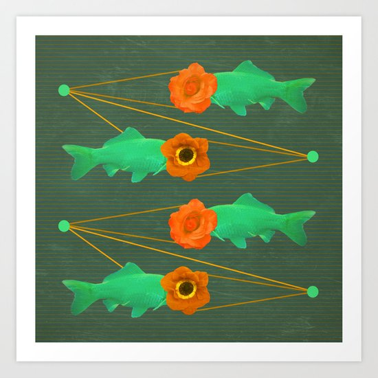 fishes and flowers color option Art Print