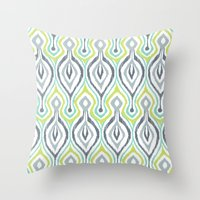 ikat Throw Pillows featuring Sketchy IKAT by Patty Sloniger