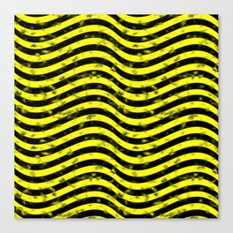 Wiggly Yellow and Black Speckle Pattern Canvas Print