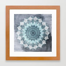 BOHOCHIC MANDALA IN BLUE Framed Art Print