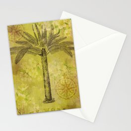 Vintage Journey palmtree typography travel collage Stationery Cards
