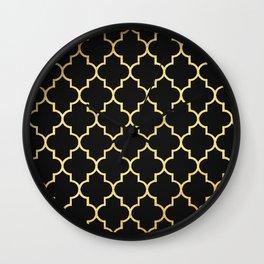Black Gold Quattrefoil Wall Clock