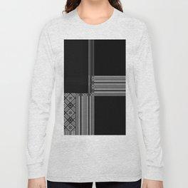 Multiple Black White Geometric Patterns Long Sleeve T-shirt