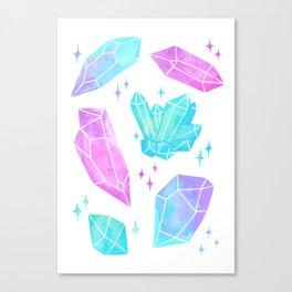 Pastel Watercolor Crystals Canvas Print