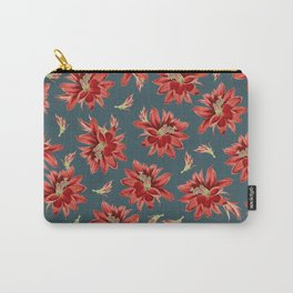 Red Christmas Cactus Flowers Dark Blue Floral Pattern Carry-All Pouch