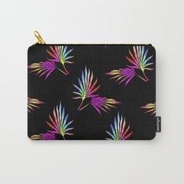 'Hawaiian Heatwave' Tropical Leaves Black Purple Red Yellow Green Blue Carry-All Pouch