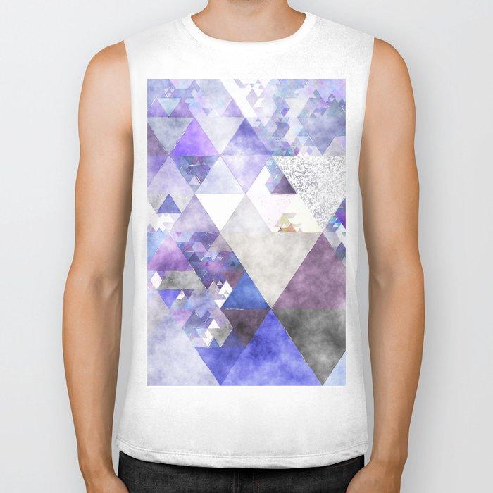 Purple and silver glitter triangle pattern- Abstract Watercolor illustration Biker Tank
