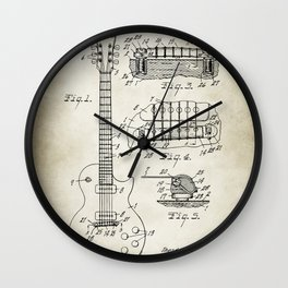 Patent 1955 Gibson Les Paul Guitar Designed By T. McCarty Wall Clock