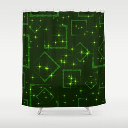 Green rhombuses and squares at the intersection with the stars on a grassy background. Shower Curtain