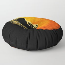NIGHT PREDATOR : lion silhouette illustration print Floor Pillow