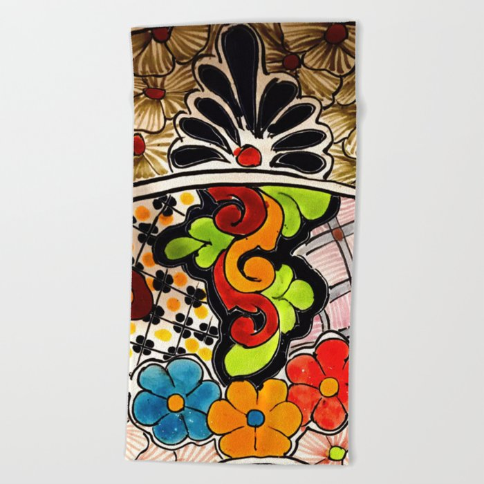 Beautiful Red and Green Talavera Beach Towel