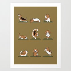 Beagle Yoga Art Print