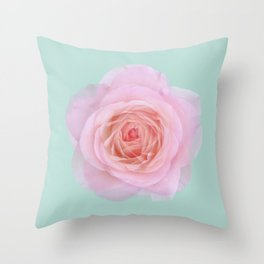 rose by another name: pink ghost on eau de nil Throw Pillow