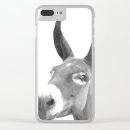 Black and white donkey Clear iPhone Case