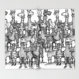 A Crowd of Llamas in Pajamas by dotsofpaint Throw Blanket
