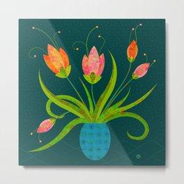 Tulips in Blue Vase on Inky Teal Metal Print
