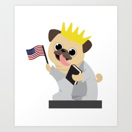 Pug Dog Independence Day - 4th July Art Print