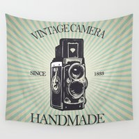 vintage camera Wall Tapestries featuring Camera Vintage by Ale Ibanez