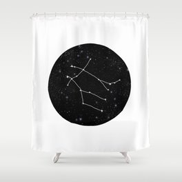 Gemini zodiac constellations astrology star gazer black and white minimalist Shower Curtain