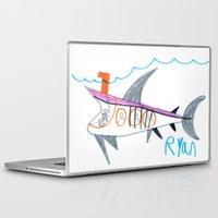 submarine Laptop & iPad Skins featuring Shark Submarine by Ryan van Gogh