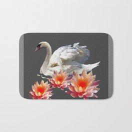 White Swan & Peach Water Lilies Grey Art Patterns Bath Mat