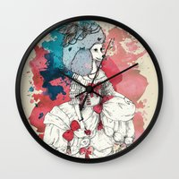 marie antoinette Wall Clocks featuring Marie Antoinette by Phie Hackett