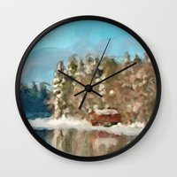 cabin Wall Clocks featuring Winter Cabin by E.M. Shafer
