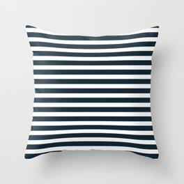 Stripes - Navy + White Throw Pillow