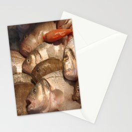 Variety of Fresh Fish Seafood on Ice 2 Stationery Cards