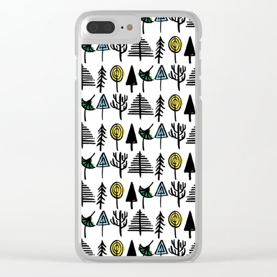 Hand drawn tree pattern Clear iPhone Case