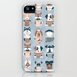 Doggie Coffee and Tea Time I // blue grey iPhone Case