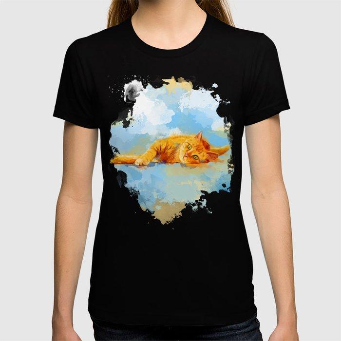 Cat Dream - orange tabby cat painting T-shirt