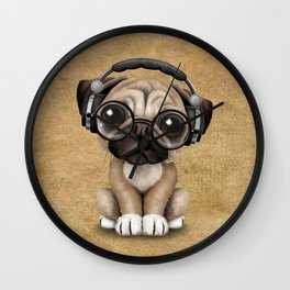 Cute Pug Puppy Dj Wearing Headphones and Glasses Wall Clock