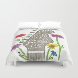 You belong among the wildflowers. Tom Petty quote. Watercolor guitar illustration. Hand lettering. Duvet Cover