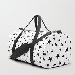 Stars - Black on White Duffle Bag