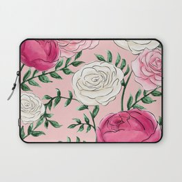 Rose Florals and Stems in Blush Laptop Sleeve